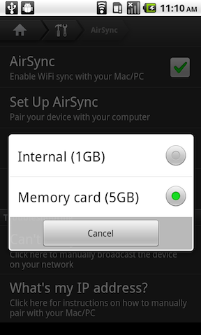 Help: AirSync to Memory Card (Experimental Feature)